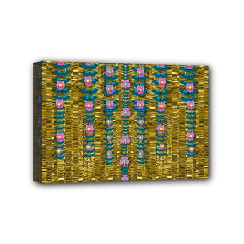 Gold Jungle And Paradise Liana Flowers Mini Canvas 6  X 4  (stretched) by pepitasart