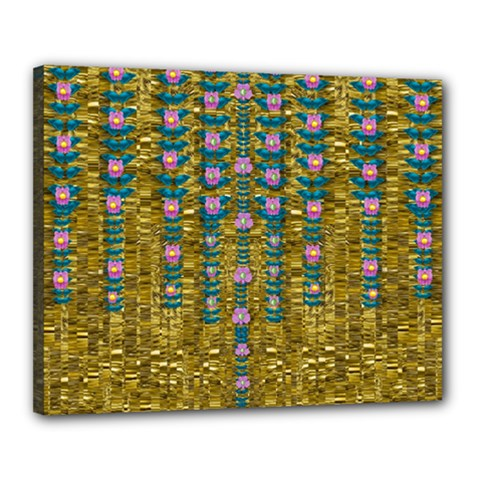 Gold Jungle And Paradise Liana Flowers Canvas 20  X 16  (stretched) by pepitasart