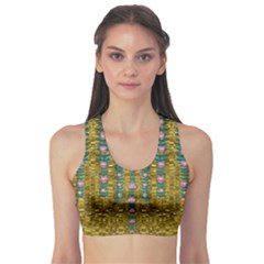 Gold Jungle And Paradise Liana Flowers Sports Bra by pepitasart