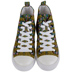 Gold Jungle And Paradise Liana Flowers Women s Mid Top Canvas Sneakers