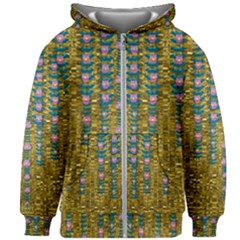 Gold Jungle And Paradise Liana Flowers Kids Zipper Hoodie Without Drawstring