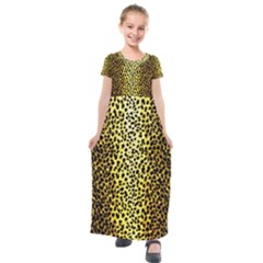 Leopard 1 Leopard A Kids  Short Sleeve Maxi Dress by dressshop