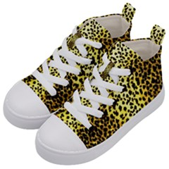 Leopard 1 Leopard A Kid s Mid Top Canvas Sneakers by dressshop