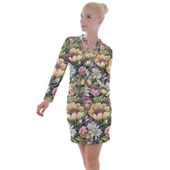 Grandma s Vintage Floral Couch Button Long Sleeve Dress by dressshop