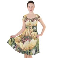 Grandma s Vintage Floral Couch Cap Sleeve Midi Dress
