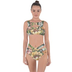 Retro Vintage Floral Bandaged Up Bikini Set  by dressshop