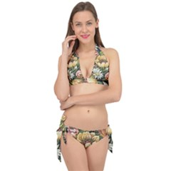 Retro Vintage Floral Tie It Up Bikini Set by dressshop