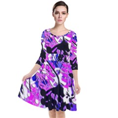 Floral Abstract Quarter Sleeve Waist Band Dress