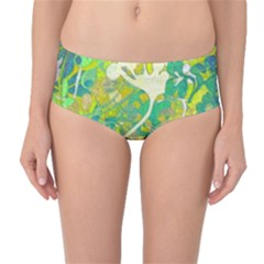 Floral 1 Abstract Mid-waist Bikini Bottoms by dressshop