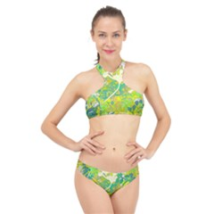 Floral 1 Abstract High Neck Bikini Set by dressshop