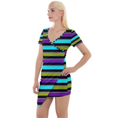 Retro Stripe 1 Version 2 Short Sleeve Asymmetric Mini Dress by dressshop