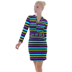 Retro Stripe 1 Version 2 Button Long Sleeve Dress by dressshop