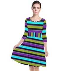 Retro Stripe 1 Version 2 Quarter Sleeve Waist Band Dress