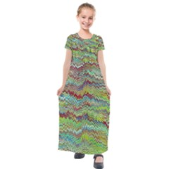 Cool Green Marbled  Kids  Short Sleeve Maxi Dress