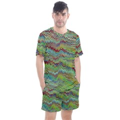 Cool Green Marbled  Men s Mesh Tee And Shorts Set