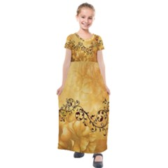 Wonderful Vintage Design With Floral Elements Kids  Short Sleeve Maxi Dress