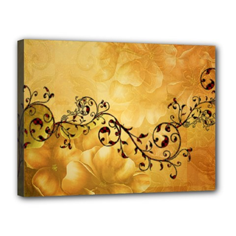 Wonderful Vintage Design With Floral Elements Canvas 16  X 12  (stretched) by FantasyWorld7