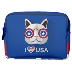 Cat I Love Usa Make Up Pouch (medium) by Wanni