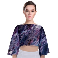 Planetary Tie Back Butterfly Sleeve Chiffon Top
