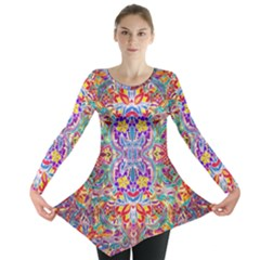 Red Purple Sparkle Floral Long Sleeve Tunic