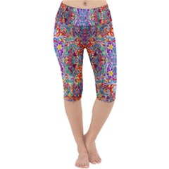 Red Purple Sparkle Floral Lightweight Velour Cropped Yoga Leggings