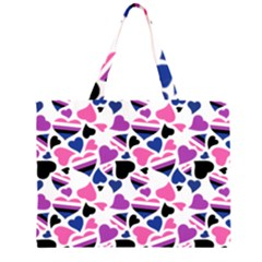 Genderfluid Pride Hearts; A Cute Gf Pride Motif! Zipper Large Tote Bag by PrideMarks