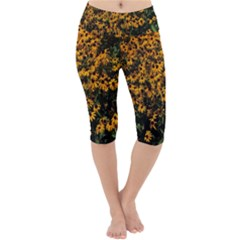 Field Of Yellow Flowers Lightweight Velour Cropped Yoga Leggings