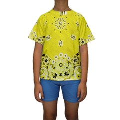 Grunge Yellow Bandana Kids  Short Sleeve Swimwear by dressshop