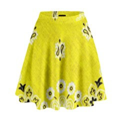 Grunge Yellow Bandana High Waist Skirt by dressshop