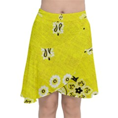 Grunge Yellow Bandana Chiffon Wrap Front Skirt by dressshop