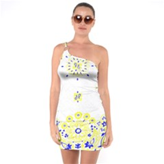Faded Yellow Bandana One Soulder Bodycon Dress by dressshop