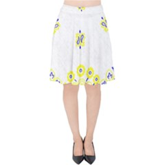 Faded Yellow Bandana Velvet High Waist Skirt by dressshop