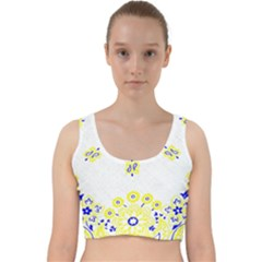Faded Yellow Bandana Velvet Racer Back Crop Top