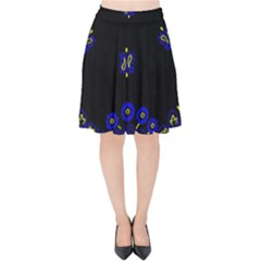 Blue Yellow Bandana Velvet High Waist Skirt by dressshop