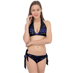 Blue Yellow Bandana Tie It Up Bikini Set by dressshop
