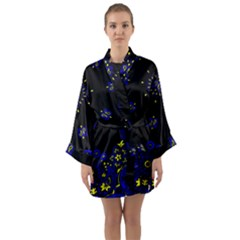 Blue Yellow Bandana Long Sleeve Kimono Robe by dressshop