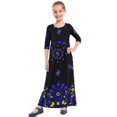 Blue Yellow Bandana Kids  Quarter Sleeve Maxi Dress by dressshop