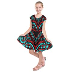 Blue And Red Bandana Kids  Short Sleeve Dress by dressshop