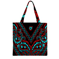 Blue And Red Bandana Zipper Grocery Tote Bag by dressshop
