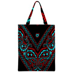Blue And Red Bandana Zipper Classic Tote Bag by dressshop