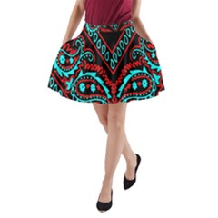 Blue And Red Bandana A Line Pocket Skirt by dressshop