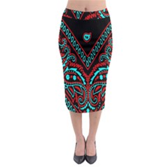 Blue And Red Bandana Midi Pencil Skirt by dressshop