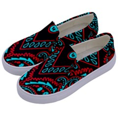 Blue And Red Bandana Kids  Canvas Slip Ons by dressshop