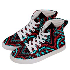 Blue And Red Bandana Women s Hi Top Skate Sneakers by dressshop