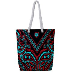 Blue And Red Bandana Full Print Rope Handle Tote (small) by dressshop