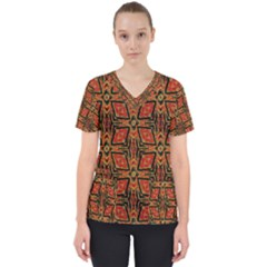 Geometric Doodle 2 Women s V Neck Scrub Top by dressshop