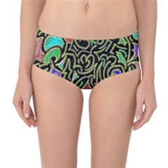 Swirl Retro Abstract Doodle Mid-waist Bikini Bottoms by dressshop