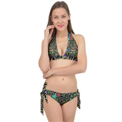 Swirl Retro Abstract Doodle Tie It Up Bikini Set by dressshop