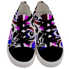Retro Swirl Abstract Men s Low Top Canvas Sneakers