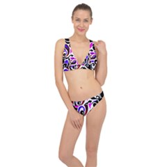 Retro Swirl Abstract Classic Banded Bikini Set  by dressshop
